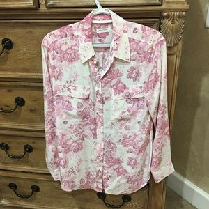 Equipment pink white floral silk shirt small